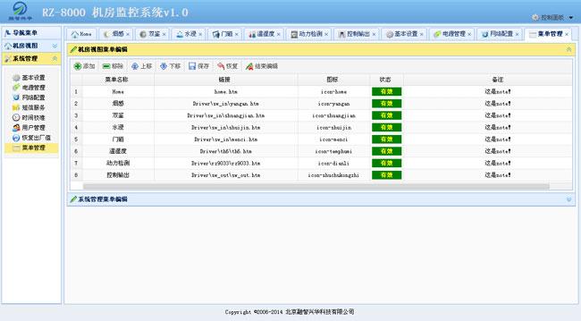 针对以上情况北京融智兴华基于物联网技术推出了RZ-8000机房环境监控系统,RZ-8000机房环境监控主机采用嵌入式计算机控制技术,对软件和硬件进行一体化设计,采用B/S架构,软件全部固化,免除了用户复杂的软件安装配置操作,使用标准的浏览器即可对机房环境和机房设 实施远程监控,方便,可靠,安全! RZ-8000机房环境监控主机配有开关量采集接口,控制输出接口,RS-232和RS-485数字通讯接口, GPRS短信通讯模块,以及智能化电源管理和后备电池,保证主机及其他传感器的持续运行,具有很高的性价比和安全